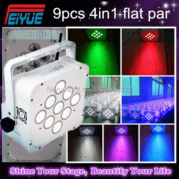 Hi-Quality 9PCS*18W 6in1 RGBAW+UV Wireless Remote Control Battery DMX LED Flat Par Can Led Slim Par Light For Stage Dj
