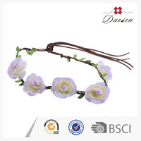 White Colors Flower Festival Braided Headband with Bloom Peach Flowers for Kids