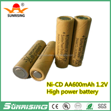 High Quality 1.2V AA 600mAh Rechargeable NICD Power Tools Battery, Electric Toys