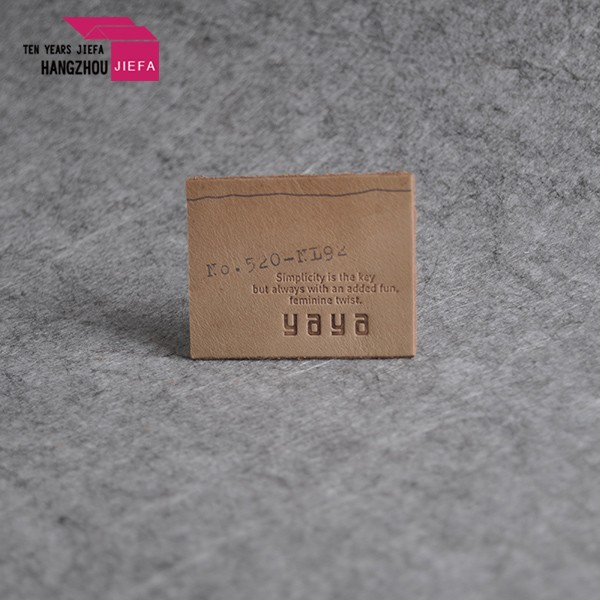 custom embossed china pu leather label for garment