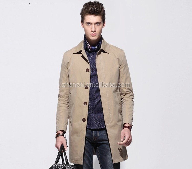 Fashion Khaki Cotton Canvas Outwear Pockets Trench Coats For Men manteau