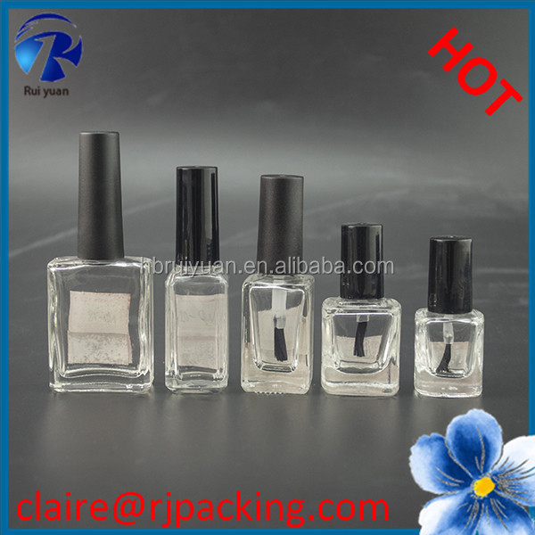 black square empty UV gel nail polish oil glass bottle with black lid