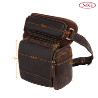 Vintage genuine leather crazy horse fanny pack wholesale customize with your brand logo for climbing mountain/camping/hiking