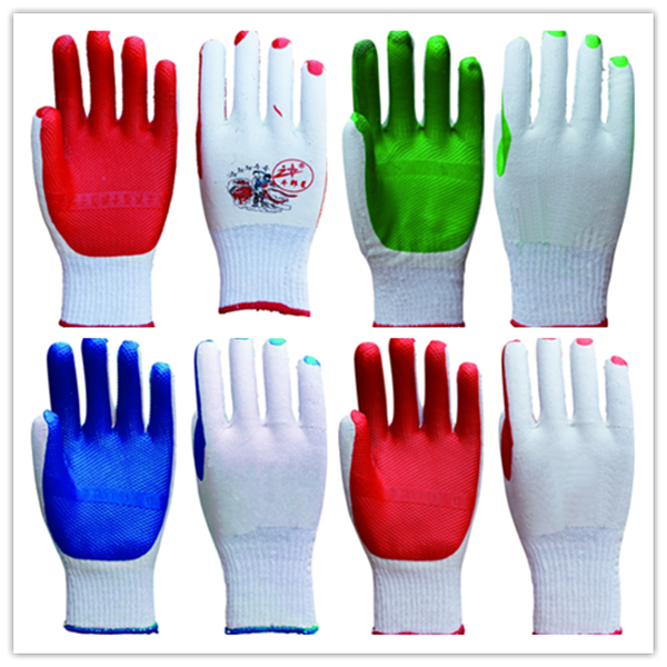 rubber coated cotton gloves safety working gloves/ safety equipment