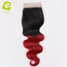 Best quality Brazilian human hair extension ombre 1b red wholesale virgin remy hair 4x4 lace closure free part