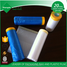 Auto paint HDPE pretaped masking film with crepe masking tape