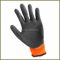 thick cotton coated winter latex gloves with liner