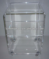 Modern small acrylic office side table/acrylic office coffee table/acrylic office furniture with wheels