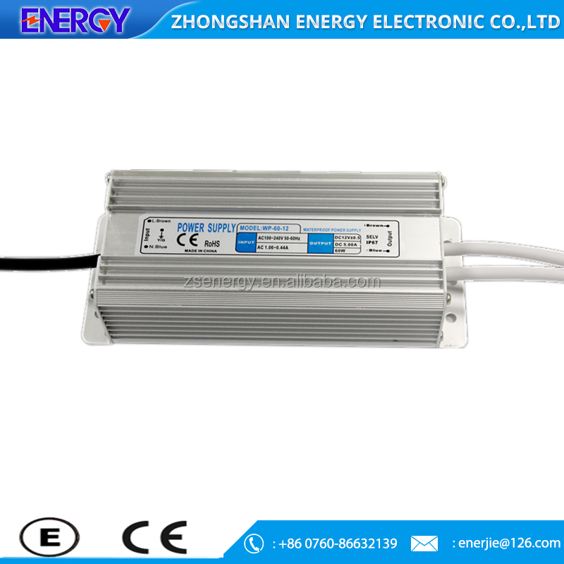 High quality 12v/24V 60W waterproof power supply led strip light power supply