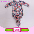 Wholesale Newborn Baby Clothes Long Sleeve Infant Baby Gown Romper Sleeping Wear Navy Floral Printed Knotted Gown Baby