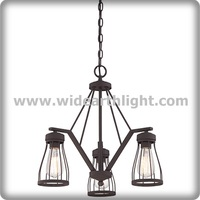 UL Listed 3 Light Classic Lines Hotel Hanging Metal Cage Lighting With Bronze Finish C81368