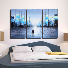 Modern Framed Wall Decor Abstract Cityscape Canvas Wall Art
