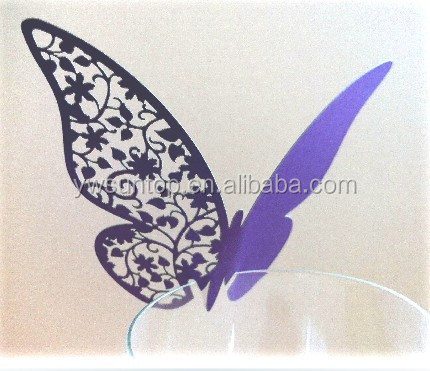 Hot Sale Wine Glass Butterfly Paper Place Cards <strong>Wedding</strong> Favors gifts for guests