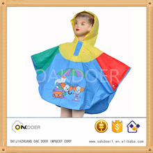 kids pvc poncho raincoat with buttons in the area of the neck, mosaic color kid rain poncho