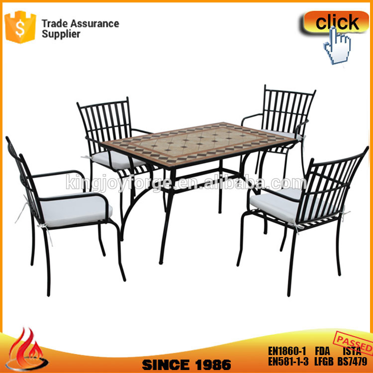 Cushioned Mosaic Outdoor Furniture With Rectangle Table And Steel Chair