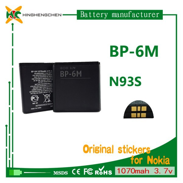 mobile phone battery msds BP-6M battery For Nokia N73/N77/N93/N93s