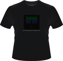Equalizer high quality el panel 100%cotton LED t shirts