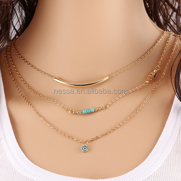 Fashion Gold Eye Evil <strong>Necklace</strong> Wholesale HZS-0153