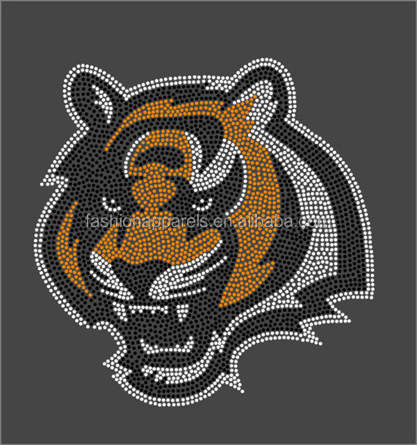 Wholesale bling Bengals Tigers motif iron on hot fix rhinestone transfers for clothing