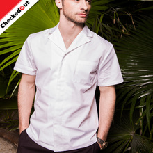 Custom unique summer short sleeve restaurant hotel work shirt modern white men chef coat uniform