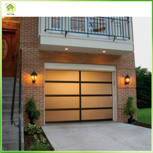 Commercial customize size aluminum frame frosted glass panel 8x7 garage door