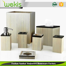 5 Piece Bath room Accessories Set Bamboo Soap Dispenser Toothbrush Holder Bin