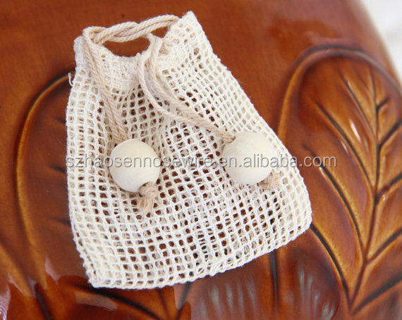 Cotton Mesh Party Favor Rustic Gift Bags Draw String with Wood Beads