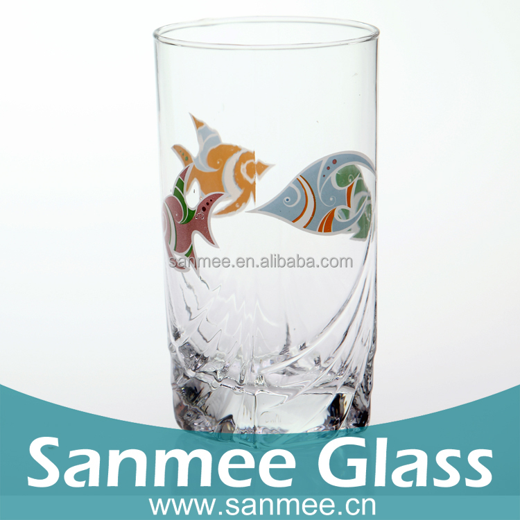 2015 New Arrival High Quality Colorful Fish Design Water Drinking Glassware
