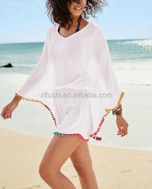 NEW!STOCK V-NECK Elastic Waistline Pompom Trim Swimwear Cover Ups