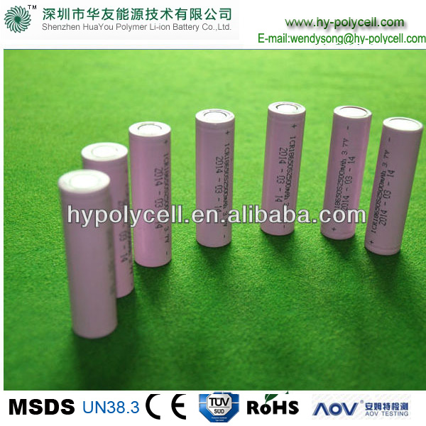 HOT 18650 3.7v 2500mah rechargeable cylider polymer-li-ion battery