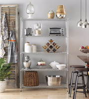 Adjustable chrome metal home storage shelves