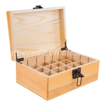 Storage display packaging Essential Oil Wooden Box, Fits 24 x 5-30ML Bottles - Customized Dividers + Metal Clasp - Elegant