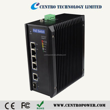 Fast ethernet industrial 4 port PoE switch
