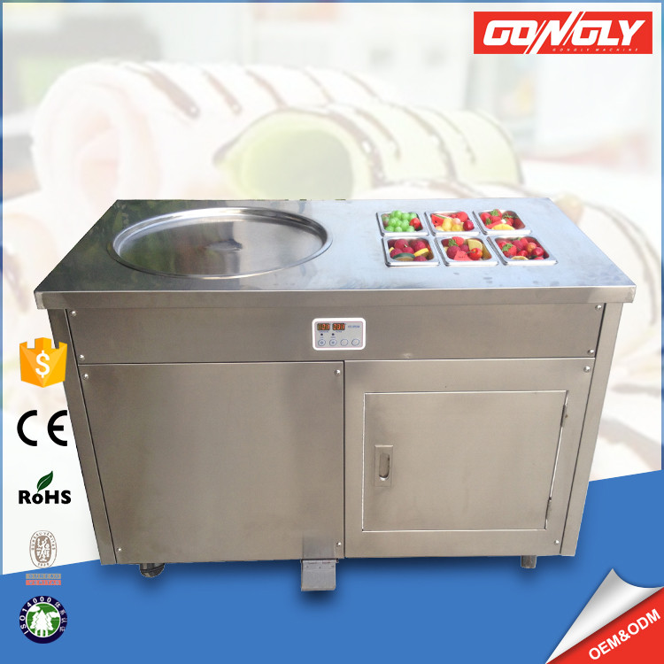 Movable stirring ice machine square single pan fried ice cream roll machine with Panasonic compressor