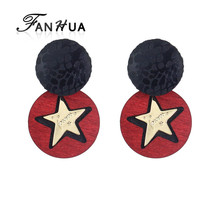 Trendy Mixed Colors Wooden Statement Stud Earrings