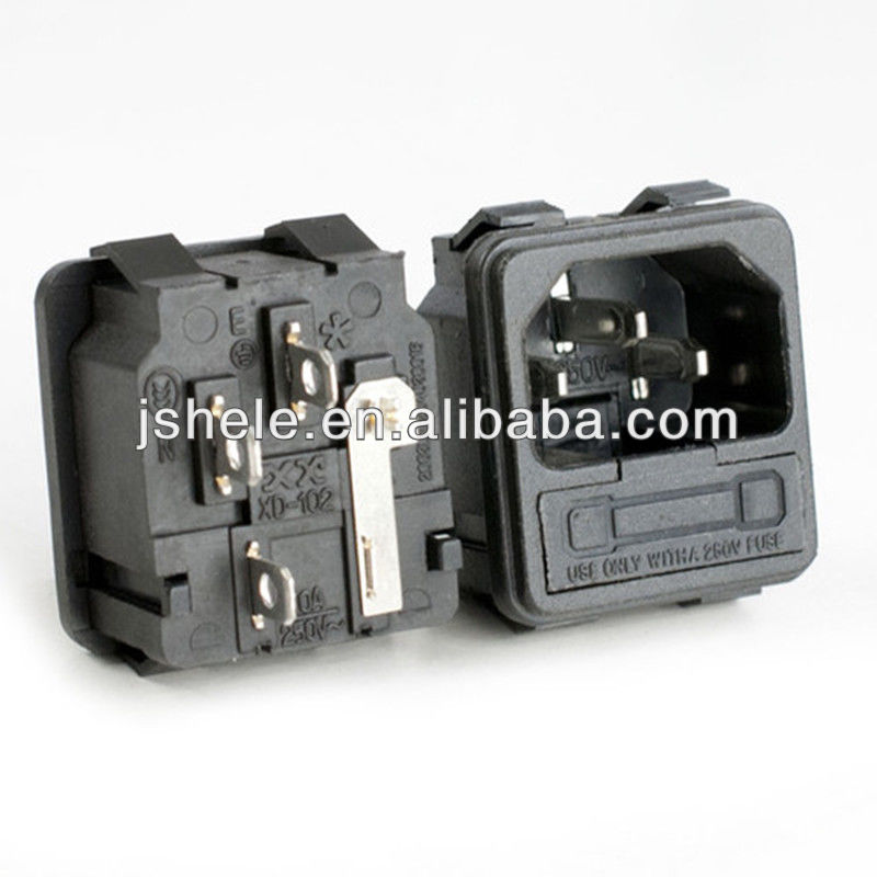 Snap-in Universal AC Power Socket 250V15A with FUSE Holder IEC320 C14