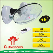 16inch rechargeable emergency oscillating wall fan with battery remote