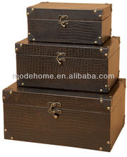 Brown Leather Antique Wooden Storage Trunk