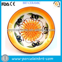 clourful round shape handmade ceramic garlic grater plate