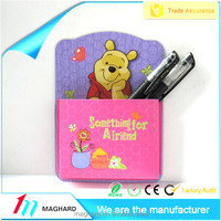 Trade assurance custom cartoon magnetic PVC pocket for fridge