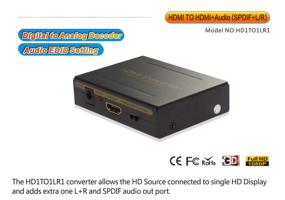 1080P HDMI To HDMI Extractor Converter support apple TV4