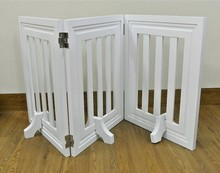 White finish folding dog play pen