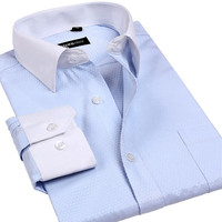 Men tuxedo shirt for party business White-collar blue jacquard latest dress designs man shirts