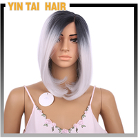 Wholesale large inventory alibaba express China 22inch 250g black dairy grey 02 synthetic lace front wig
