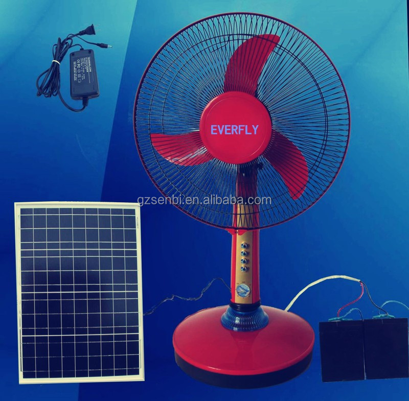 NOVA house / office using DC 12V /24V Solar Rechargeable Red Table Fan with battery