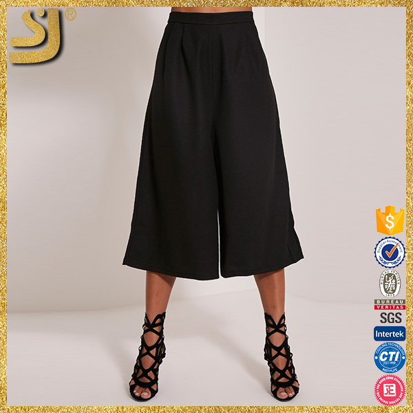 OEM factory price lady white culottes pants, manufacture layerd culottes pants