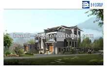 with light weight steel structure and PU insulation panel prefab villa modular house
