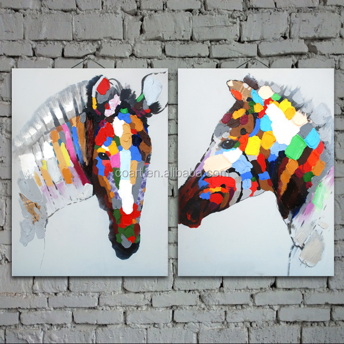handpainted abstract horse head painting on canvas