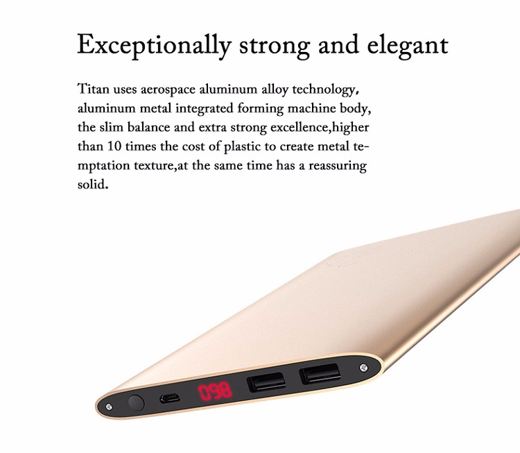 Newest Design ultra thin Matel Power Bank,Mobile Charger Portable Power Bank