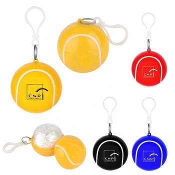 New creative unique style cheap personalized logo printed tennis-ball shaped plastic ball poncho raincoat with ABS carabiner